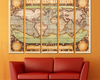 Old World Map Canvas Panels Set, Large Ancient World Map Print, Vintage World Map Wall Art for Home & Office Decor