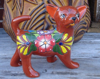 Talavera Friendly Chiguagua Dog Handpainted Handmade Home Decor Mexican Talavera Ceramic Art
