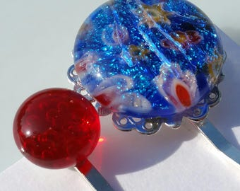 Fused glass flower millifiore capped with dichroic glass cabochon filigree tray hair pin with a red glass tray bobby pin