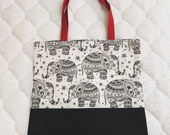 Black and white elephant print hand made tote bags