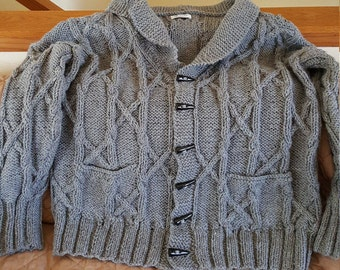 Handmade cable knit cardigan/jacket