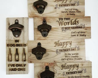 Personalised Wall mounted bottle opener Personalised Fathers Day Gift Birthday