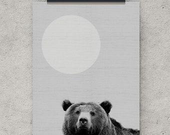 Nursery Wall Art Decor, Bear Print, Black White Gray Animal, Kids Room, Printable Download, Modern Minimalist, Photo Wall Print, Cute Bear