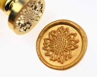 Sunflower wax seal stamp/ wax sealing kit /Custom wedding seals/wedding invitation seal/SS016