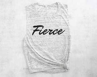 Fierce muscle tank top, funny womens gym tank, womens workout top, exercise tank top, fitness tank top, cute gym tank top, lifting tank