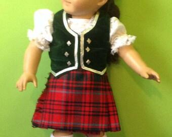 American Girl Doll Scottish Highland Dance Costume -Kilt, Vest, Blouse, Shoes, Socks, Briefs