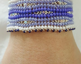 womans bracelet, Glass beaded bracelet, boho bracelet, purple beaded bracelet,  handcrafted bracelet, Friendship bracelet, Swarovski beads