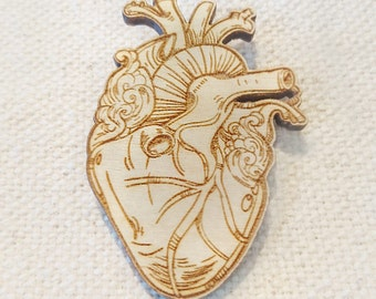 Anatomical heart brooch  |  Laser Cut  |  Present / Gift  |  Wood Jewellery