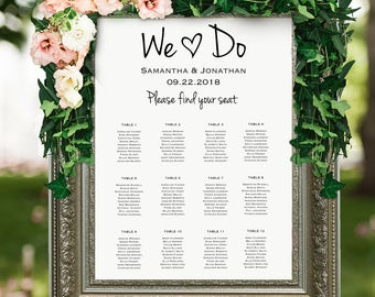 Wedding seating chart template, Seating chart printable, seating board, seating chart poster, Editable PDF, Instant download, Rustic wedding