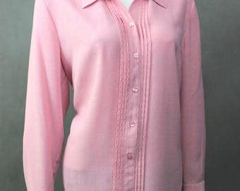 Vtg Pastel Pink Shirt - Oversized Blouse - Plus Size Shirt - Womens Shirts - Long Sleeve Button Up - Casual Cotton Shirt - Pale Pink Shirt