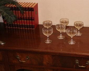 Vintage Cut Lead Crystal Brandy Glasses set of 6