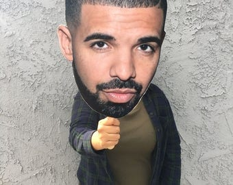Drake Big Face Cut Out - Drake FatHead - Mask - Views More Life - Drake Photo Booth Prop - Drake Big Jumbo Head - Drake Head on a Stick