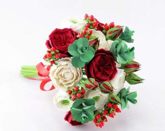 Wedding bouquet Bridal bouquet Clay flowes Red bouquet