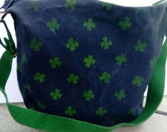 Shamrock Handbag Vintage Purse Irish Satchel Canvas Shoulderbag Navy Blue with Green Shamrocks