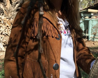 Women's small vintage 1970's Pioneer Wear suede and fringe leather jacket