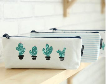 Cactus pencil case, Stationary, Makeup bag, Cute stationary