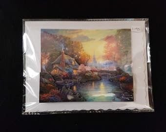 Handmade decoupage landscape greetings card