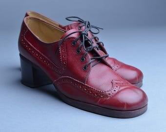 Vintage Red Leather Heeled Wingtip Oxford