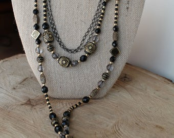 Black & Gold Multi-Layered Beaded Necklace