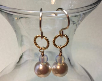 "Pearl and opalite earrings; pearl earrings; opalite earrings; blue and white earrings; ""Something blue"" earrings; dangle earrings"