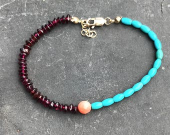 Turquoise, Garnets,  faceted coral and 14K gold fill embracelet wear alone or stackable