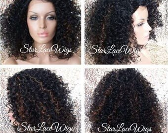 Curly Lace Front Wig - Side Part - Off Black #1b - Highlights #30 - Heat Resistant Safe