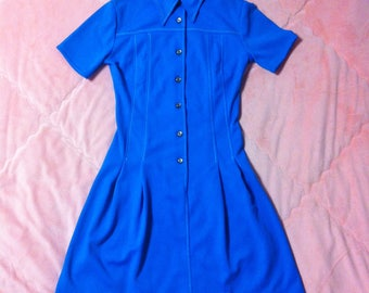 1960s Vintage Mod Dress / 60s Vintage Mod Collared Shirt Dress