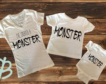 I've created a Monster, Monster, Mom and baby shirt, Mom and kid shirt, Cute mom and kid shirt, Matching mom and kid, Mommy and me shirts
