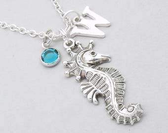 Seahorse monogram necklace | seahorse necklace | seahorse pendant | personalised seahorse necklace | seahorse jewelry | birthstone
