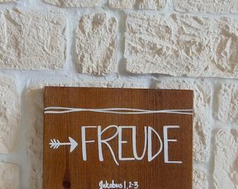 "Wooden sign ""Joy"" (handmade)"