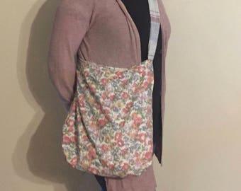 Pretty Reusable Shopping Bag, Floral Book Bag, Comfortable Market Tote, Eco-Friendly, Grocery Bag, Diaper Bag, Purse, Knitting Bag