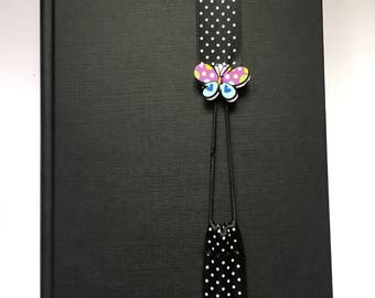 Butterfly wrap around bookmark / Polka dot bookmark / black and white ribbon / Ribbon bookmark