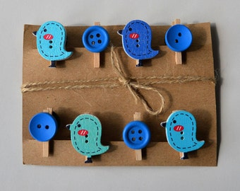 Cute bird decorative wooden button mini pegs, magnets / string
