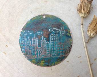 Etched copper cityscape pendant component