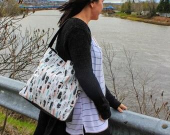 Handbag, fashion, women, girl, feathers, white, turquoise, pink, black, gray, large bag