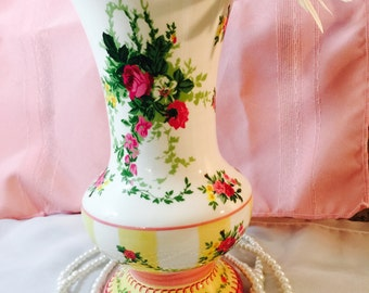 Vintage Laura Ashley Vase - Pink Yellow - Isabella Rose
