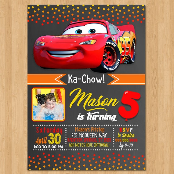 Disney Cars Invite - Chalkboard Red Orange Yellow - Cars Birthday Party Invite - Cars Party Favors - Photo Invite - Lightning Mcqueen