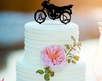 Customized Mr And Mrs Motorcycle Wedding Cake Topper ,Personalized Bride And Groom Cake Topper,we do cake topper, biker topper