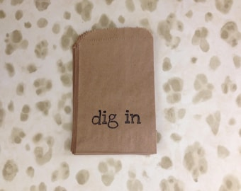 "Hand Stamped ""Dig In"" 4X6 Kraft Bag Silverware Holder"