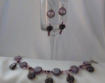 Purple Czech Glass Beaded Bracelet and Earring Set