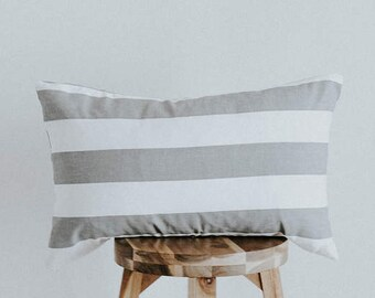 "Gray and White Horizontal Striped Pillow Cover Lumbar ""Cozette"""