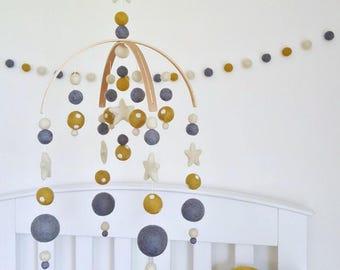 Mustard & Polka Dot Baby Mobile, Felt Ball Mobile, Cot Mobile, Nursery Mobile, Crib Mobile, Custom Mobile, Pom Pom Mobile, Baby Shower