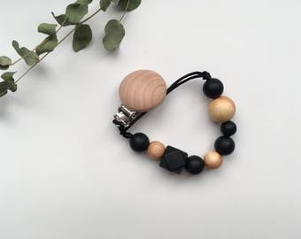 HEX // Juniper Wood + Silicone Soother Clip // Pacifier Clip // Dummy Chain // Toy Clip