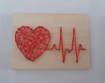 String Art Rhythm Heart Beat Sign Wall Art