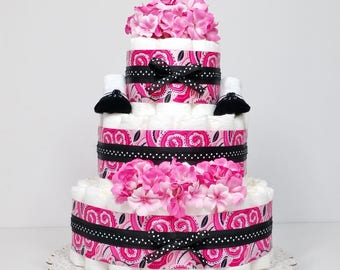 Precious in Pink Paisley Baby Girl Diaper Cake Baby Shower Centerpiece