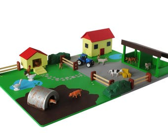 Kid's Wooden Toy Farm Play Set - 27 pieces, 3+ Years, By Totally Unique Miniatures