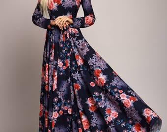 Dark blue Floral maxi dress, long sleeve dress, summer dress, Bridesmaids Dress, Formal dress, Evening Gowns, Special occasion womens dress
