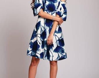 Short floral dress, blue NAVY summer dress, floral midi dress, white summer dress, womens dresses, white summer dress with floral print