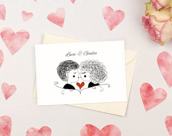 Romantic wedding invitation with kiss. Simple and witty. Custom wedding invitations.