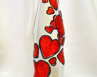 Cascading red hearts bottle